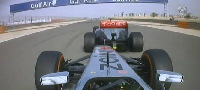 Perez al rebufo de Button