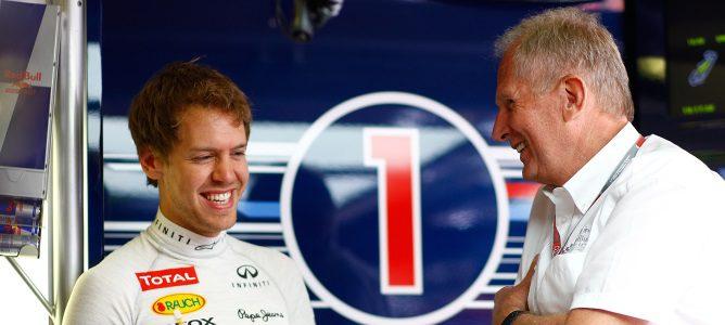 Sebastian Vettel y Helmut Marko se ríen juntos