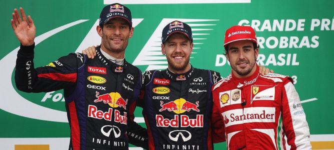 Webber, Vettel y Alonso en el podio del GP de Brasil 2013