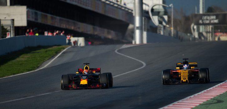 Max Verstappen y Jolyon Palmer en los test de pretemporada 2017