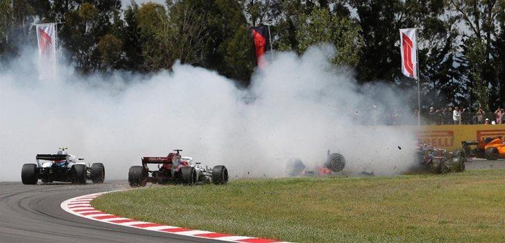 Grosjean sufre un accidente en el GP de España 2018