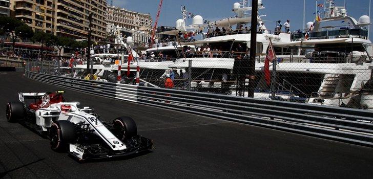 Leclerc rueda en Mónaco