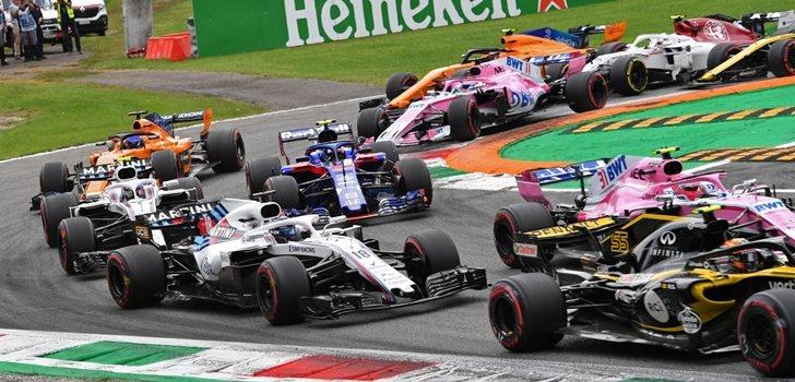 Stroll, en la salida del Gran Premio de Italia 2018