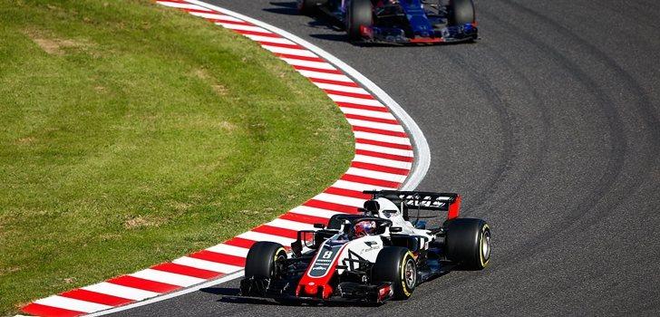 Grosjean rueda en Suzuka