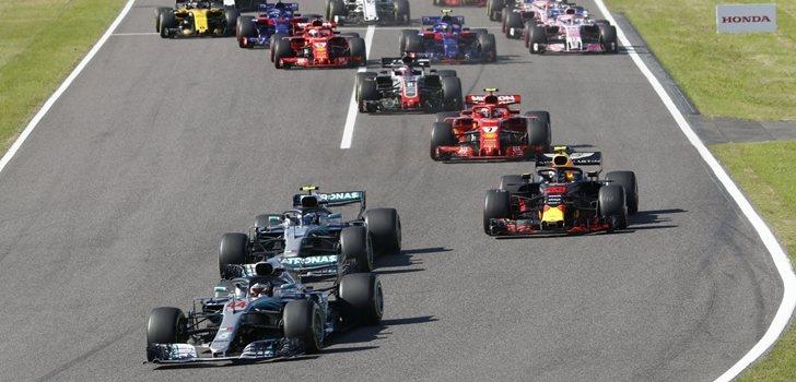 Los pilotos de F1, en la salida del GP de Japón