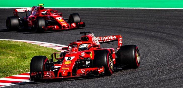 Vettel, durante el GP de Japón 2018