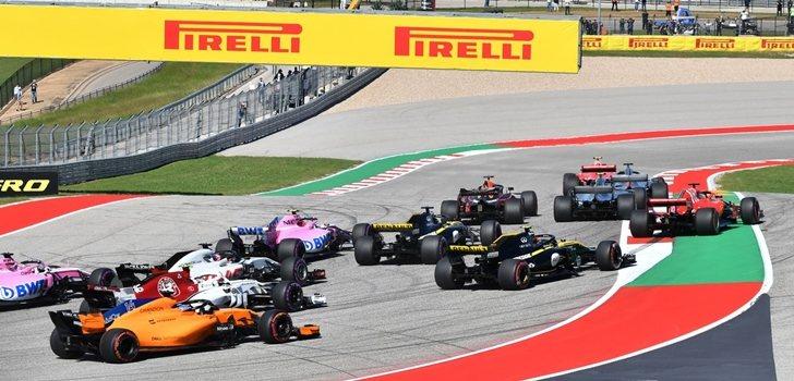 Los coches de F1, en la salida de Austin