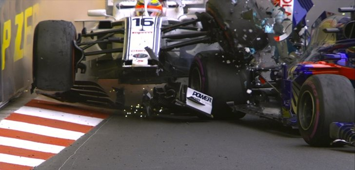 Choque entre Leclerc y Hartley
