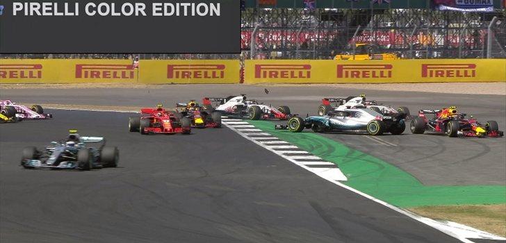 Hamilton trompea en Silverstone