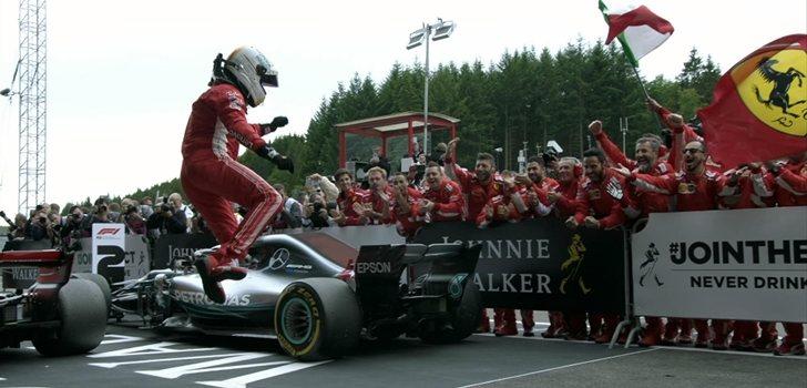 Vettel celebra su triunfo en Spa-Francorchamps