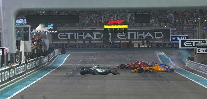 Alonso, Hamilton y Vettel trompean en Abu Dabi