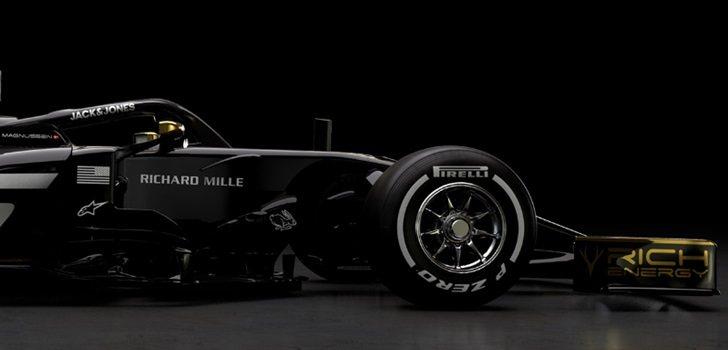 Parte delantera del nuevo VF-19 de Haas