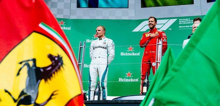 Vettel y Bottas, en el podio