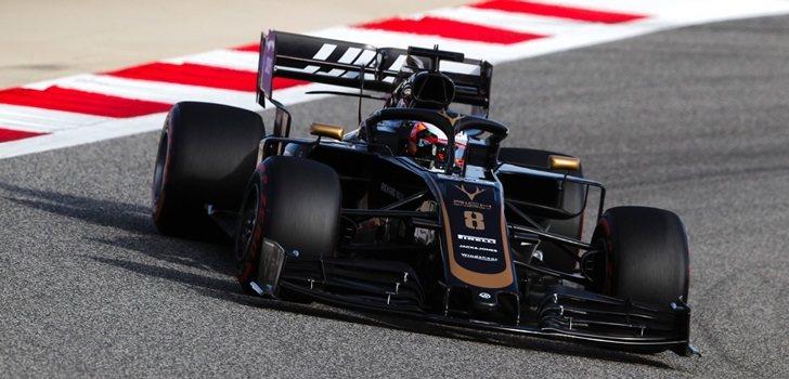 Grosjean rueda en Baréin 2019