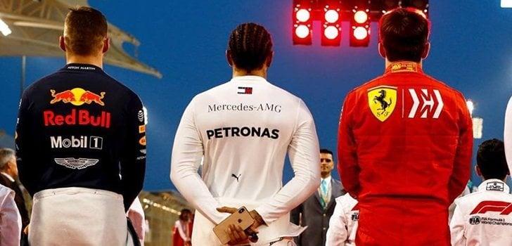 Verstappen, Hamilton y Leclerc, de espaldas