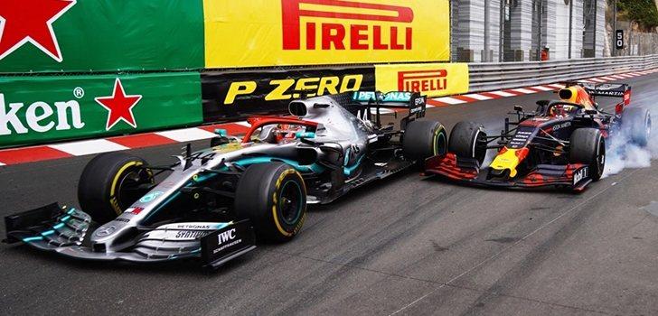Hamilton y Verstappen se tocan en Mónaco