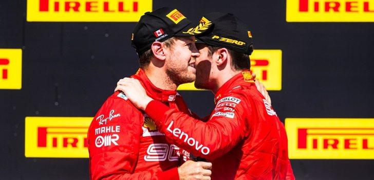Vettel y Leclerc en el podio de Montreal