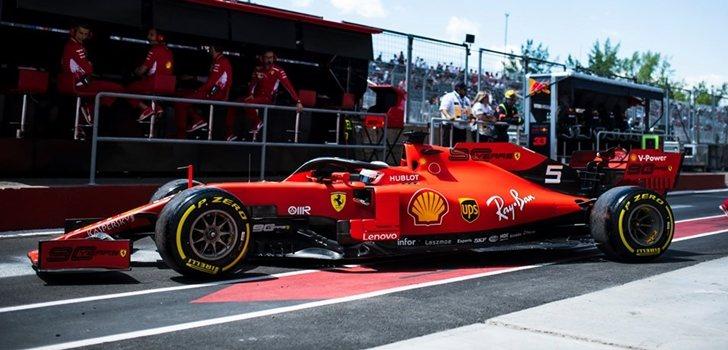 Vettel sale de su box en Canadá