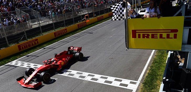 Vettel cruza la línea de meta en Montreal