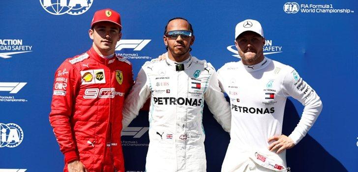 Leclerc, Hamilton y Bottas posan ante los medios