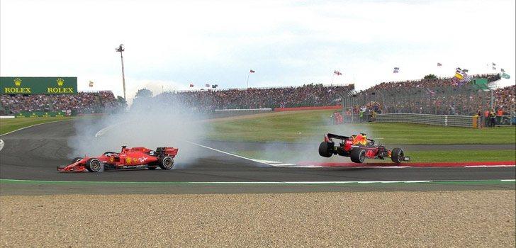 El incidente más sorprendente de la carrera en Silverstone, entre Vettel y Verstappen