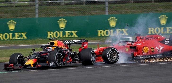 Vettel embiste a Verstappen en Silverstone