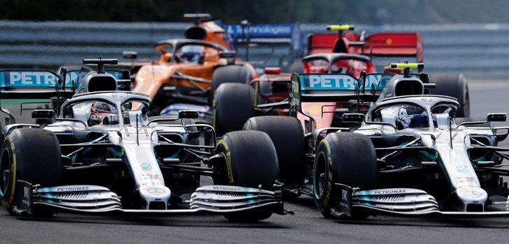 Hamilton lucha por posición con Bottas