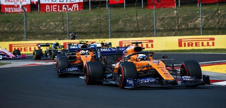 Sainz y Norris, durante el pasado GP de Hungría