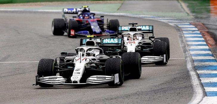 Los Mercedes, durante el GP de Alemania 2019