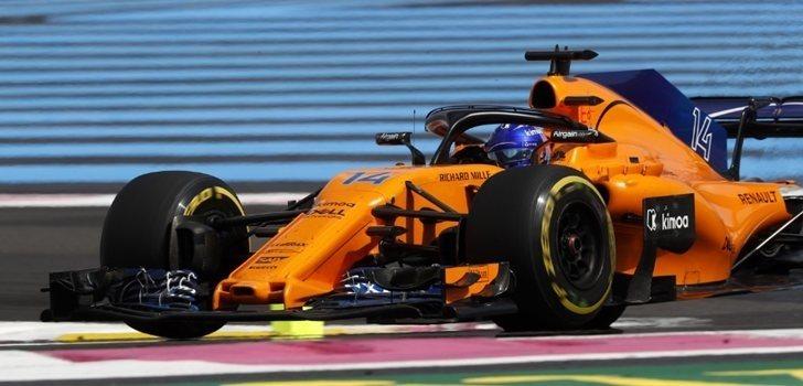 Fernando Alonso, durante el GP de Francia 2018