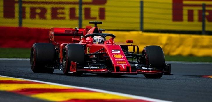 Sebastian Vettel, durante el GP de Bélgica 2019