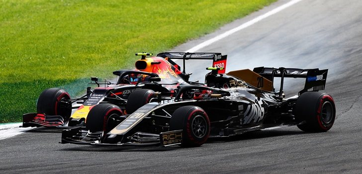 Albon, a punto de tocarse con Magnussen en Monza