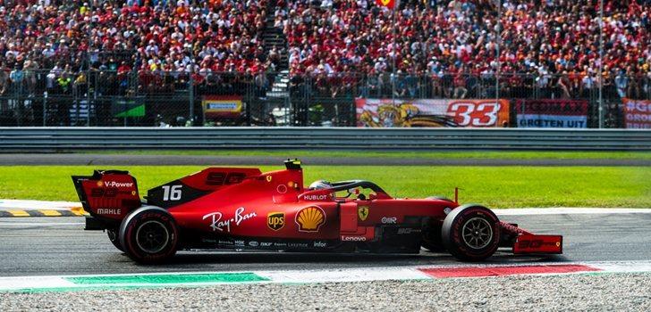 Charles Leclerc, durante el GP de Italia 2019