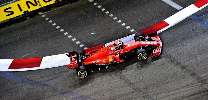 Sebastian Vettel, en los Libres 2 de Singapur