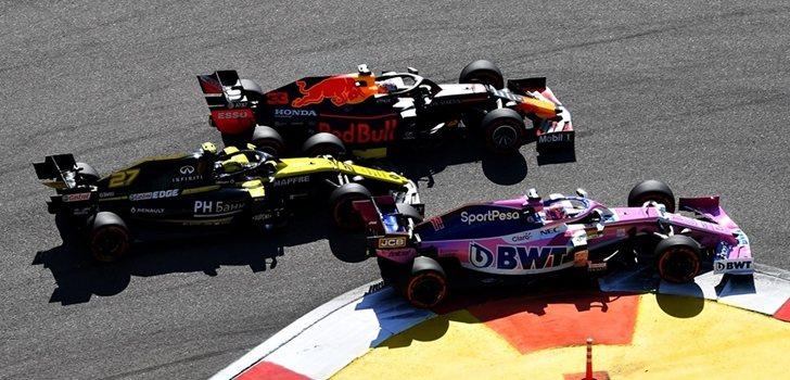 Verstappen lucha por posición con Hülkenberg y Pérez