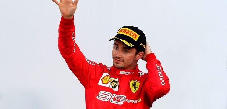 Charles Leclerc, en el podio de Sochi