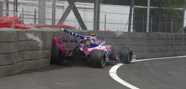Stroll acaba contra las protecciones en los Libres 1 del GP de México