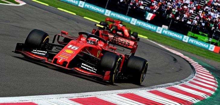 Leclerc y Vettel,durante el GP de México
