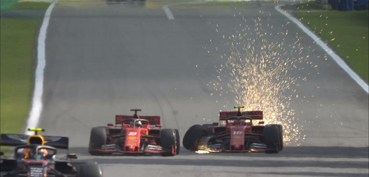 Accidente entre los pilotos de Ferrari en la carrera de Brasil