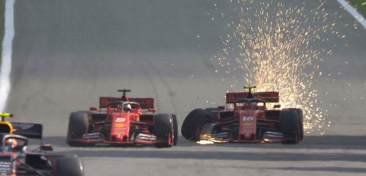 Vettel y Leclerc se tocan en Interlagos