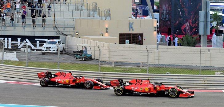Leclerc y Vettel pelean por posición en Yas Marina