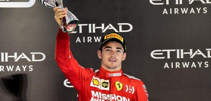 Leclerc celebra el podio en Abu Dabi