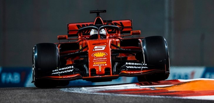 Vettel, durante el Gran premio de Abu Dabi 2019