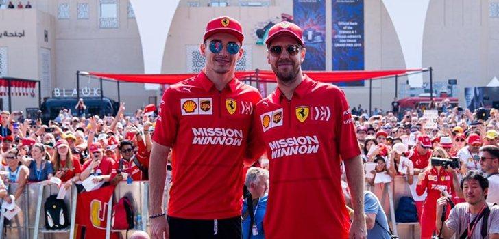 Vettel y Leclerc, juntos en Abu Dabi