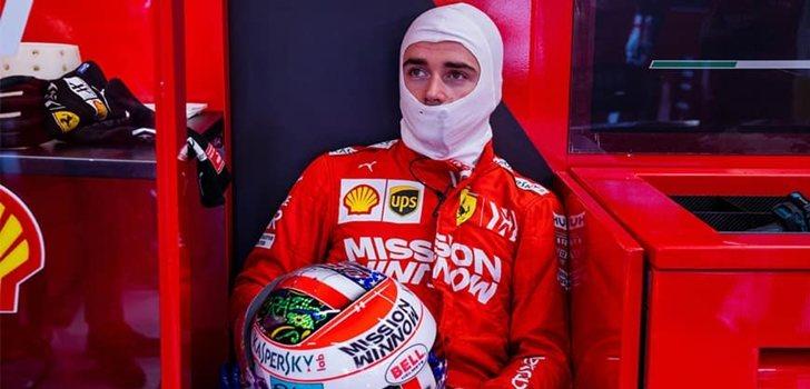 Leclerc, concentrado antes de subirse al monoplaza