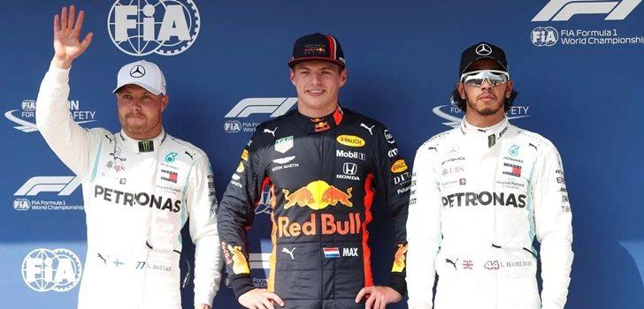 Bottas, Verstappen y Hamilton, juntos en Hungría