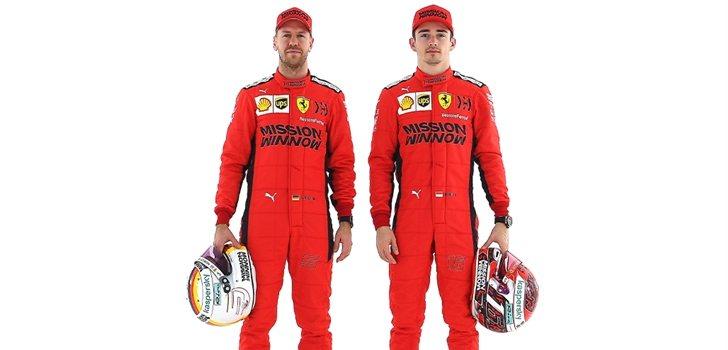 Vettel y Leclerc, con la equipación oficial de 2020