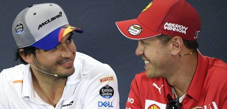 Sainz y vettel, juntos en una rueda de prensa de la F1