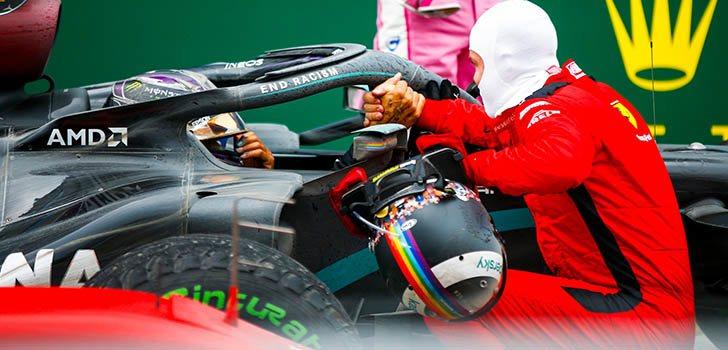 Sebastian Vettel aplaude lo logrado por Lewis Hamilton