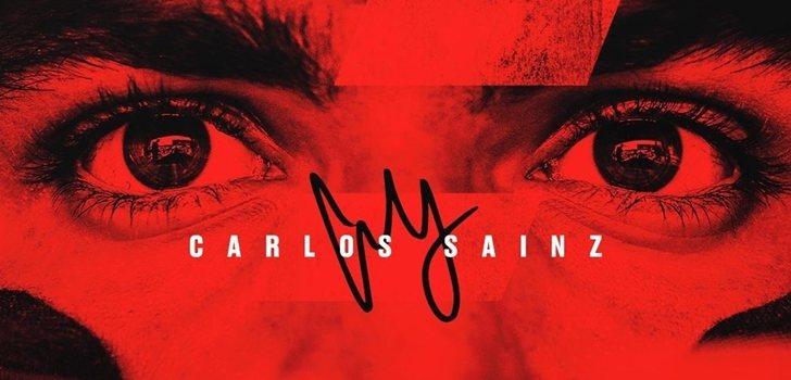 Carlos Sainz, en el póster oficial de Ferrari